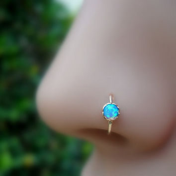 Blue Opal Nose Ring Hoop/Tragus/Cartilage Earring 14K Rose Gold Filled Handcrafted 3mm Stone 7mm Inner Diameter