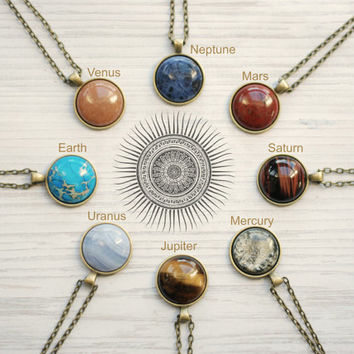 Solar System Planet Necklace Semi Precious Stones Space Jewelry Planets Aligned Bronze Statement Necklace