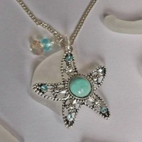Sea Glass and Turquoise Starfish Necklace