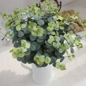 1PC Green Artificial Plant Silk Flower Round Leaves Flower Arrangement Accessories Wedding Home Decoration