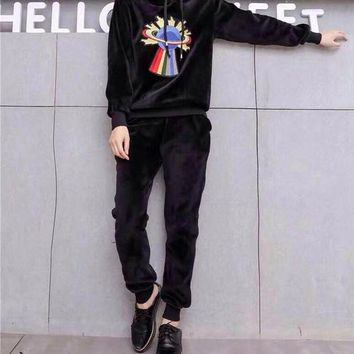 DCCKH3L Gucci' Women Fashion Embroidery Pattern Hooded Long Sleeve Sweater Trousers Set Two-Piece Sportswear