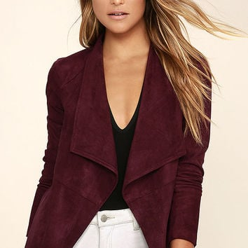 BB Dakota Nicholson Burgundy Suede Jacket
