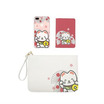 Lucky Cat Combo Wallet , Clutch and Phone case