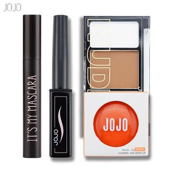 JOJO New 4Pcs Easy Lip Makeup Black Eyeliner Pencil Matte Liquid Lipstick Face Bronzer Highlighter Palette Big Eyes Mascara