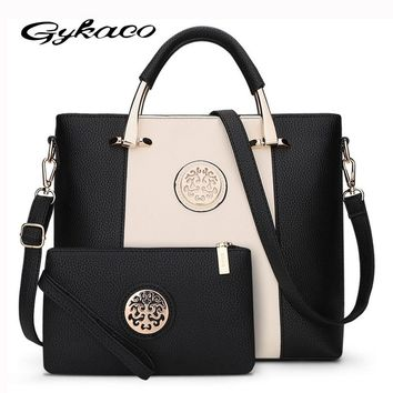 2017 New 2 Bags/Set European And American Style Women Tote Bag Brand Designer Women Messenger Shoulder Bags Handbag And Purse