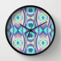 Abstract blue Peacock pattern Wall Clock by ArtLovePassion