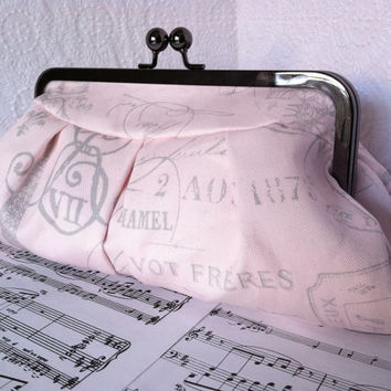 Gray and blush pink clutch purse, Paris French theme, clutch bag in frame