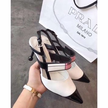 PRADA  Women Fashion Casual Heels Shoes Sandals Shoes