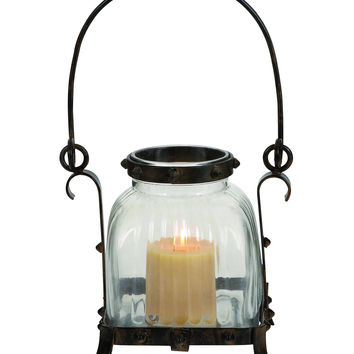 Metal Glass Lantern In Rustic & Antique Design