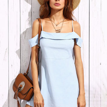 Blue Cold Shoulder Zipper Side Dress