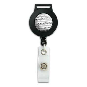 Classical Sheet Music Retractable Badge Card ID Holder