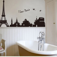 Three generations can remove wall stickers Bedroom, living room sofa background TV stickers scenery of Paris SM6