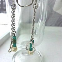 Silver Heart Earrings with Turquoise and Silver Chain, Women's Earrings, Spring colors, Leverback style, Lightweight Earrings