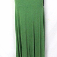 Heather S size Green Knit Trumpet Maxi Skirt New Long Stretch Easy Wear Hip Boho