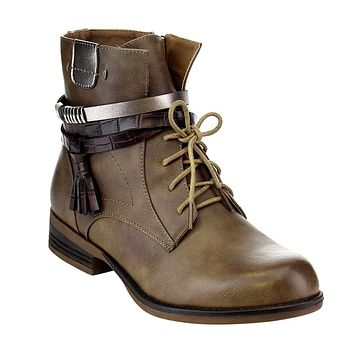 Strappy Tassel Lace up Side Zip Low Stacked Ankle Bootie Vegan Leather Women's