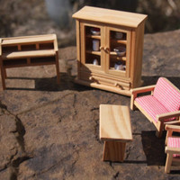 5 Piece Miniature Doll House Furniture Wooden Hutch Chair Table Desk Couch Lot