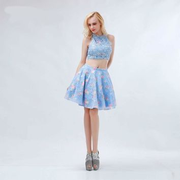 Blue Floral Print Homecoming Dresses Two-piece High Neck Sleeveless Lace Crystal Mini Prom Party Gowns