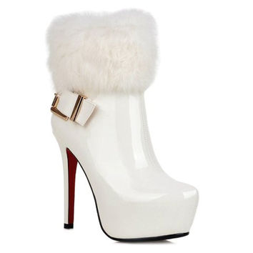 White High Heel Boots With Buckle and Faux Fur Design