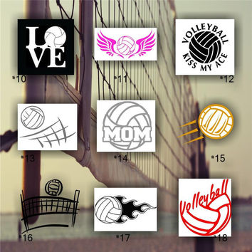 VOLLEYBALL - vinyl decals - custom car window stickers - personalized vinyl decals - team sports decal - #10-18