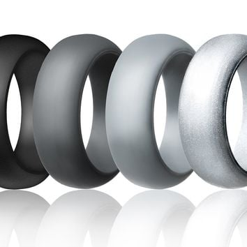 Silicone Wedding Ring For Men By Mounblun Affordable Silicone Rubber Band, 7 Pack, 4 Pack, 2 Pack & Singles - Camo, Metal Look Silver, Black, Grey, Light Grey