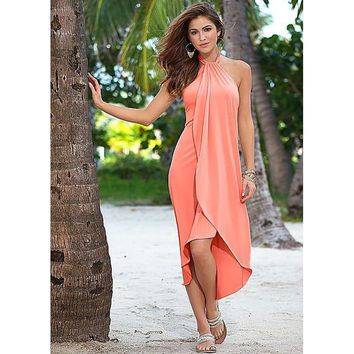 Women Holiday Shift Dresses Sexy Sleeveless Asymmetrical Halter Beach Casual Dress Sundress