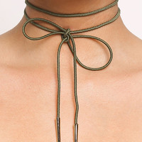 Olive Thin Wrap Around Choker