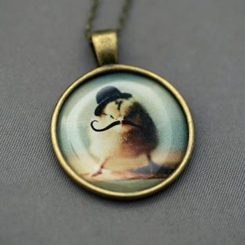 Photo Pendant Necklace of A Chick Wearing a Tiny Black Bowler Hat and Mustache