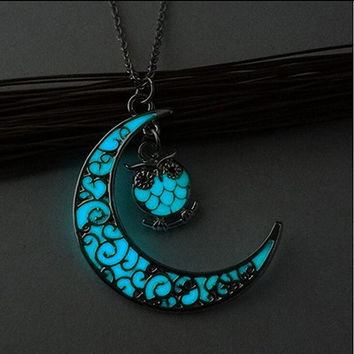 Vintage Moon Owl Glow In The Dark Necklace