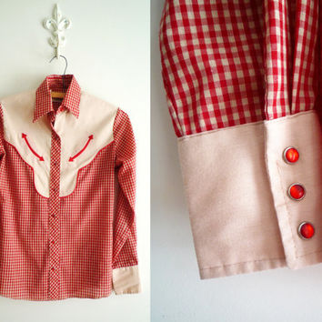 60s Womens Wrangler Western Pearl Snap Button Rockabilly Gingham Shirt