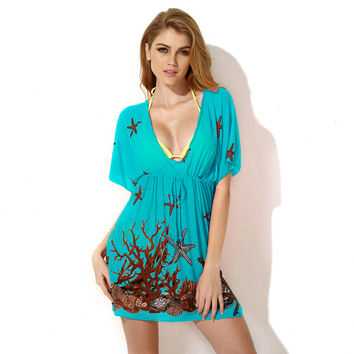 Blue Under The Sea Print Short Sleeve Bikini Cover-up