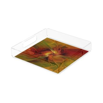 Warmth, Abstract Fractal Art Serving Tray