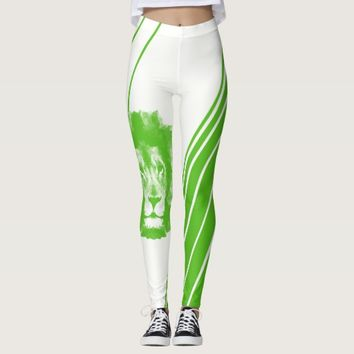 Green Lion Head With Stripes Leggings