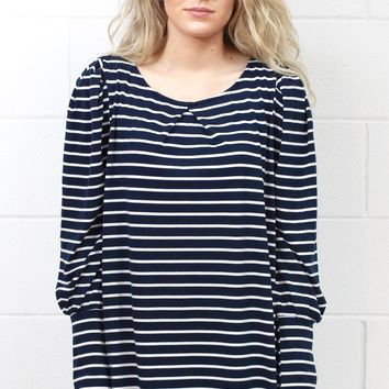 Basic Stripe U-Hem Long Sleeve {Navy}
