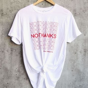 distracted - no thanks grocery bag graphic tee unisex tshirt - white/red