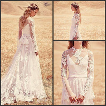 Vintage Style Lace Boho Wedding Dress Custom Make Elegant Sheer Neck Floor-length Hollow Back Long Sleeve Bridal Gown