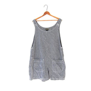 Oversized 90s Checkered Romper Shorts One Piece Bibs Overalls Jumpsuit Pockets Slouchy Grunge Mod Basic Womens XL