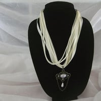 Choker Ribbon and Leather Cord with Victorian Pendant