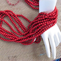 Ruby red pearl glass Beads 5mm round glass beads five 30 inch strands