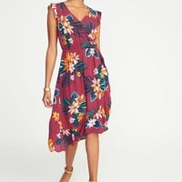 Sleeveless Cinched-Waist Crinkle-Gauze Dress for Women |old-navy
