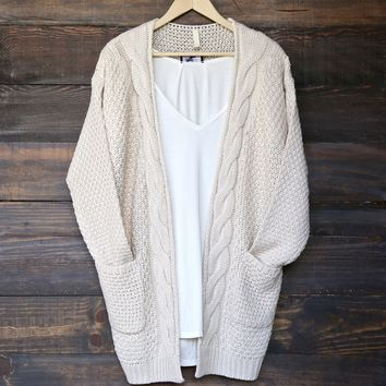 late at knit night cardigan - natural