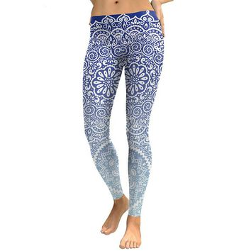 Mandala Flower Women's Blue & White Slim High Waisted Elastic Printed Fitness Workout Leggings
