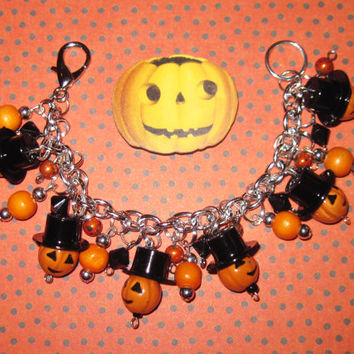 Jack o' Lantern Charm Bracelet Halloween Jewelry Sir Pumpkin Head Top Hat OOAK Halloween Statement Piece Costume Accessory Adult Teen Tween
