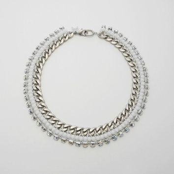 [W.C.] white and opal weaving chain necklace