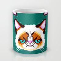Grumpy Cat Geometric Pattern Mug by chobopop