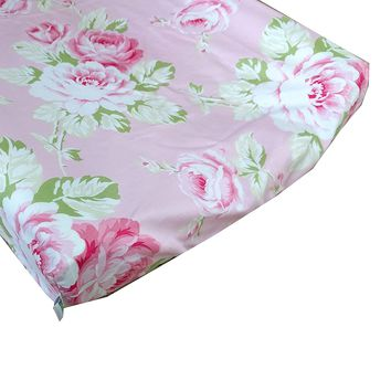 Sunshine Roses Pink Floral Changing Pad Cover - Fits Standard Contoured Changing Pads