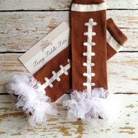 Football Leg Warmers, Baby Leg Warmers, Brown Leg warmers with ruffles