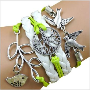 Rope Bracelet White and Yellow Birds