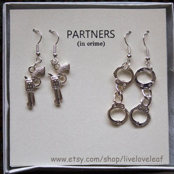 Partners in crime matching Earrings set 2 sets of earrings - One for your, one for your (BFF, your friend, your mom, your daughter)