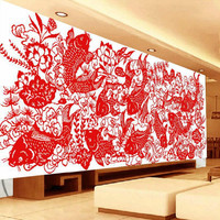 Chinese Paper Cutting Art Lotus Flower Fish Needlework Handmade DIY Precise Printed Full Cross Stitch Embroidery Kit Counted