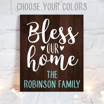 BLESS OUR HOME, Fall Wood Sign, Wood Quote Sign, Farmhouse Sign, Thanksgiving Family Name Sign, Personalized Home Decor, Canvas or Print